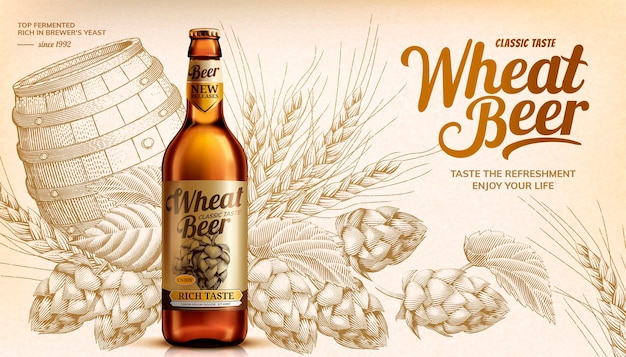 Banner de cerveja de trigo com lúpulo em estilo xilogravura e elementos de barril em estilo 3d, tom bege