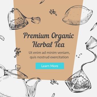 Banner de chá de ervas orgânico premium com limão e ervas