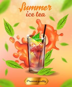 Banner de chá de gelo de verão, bebida fria de qualidade premium