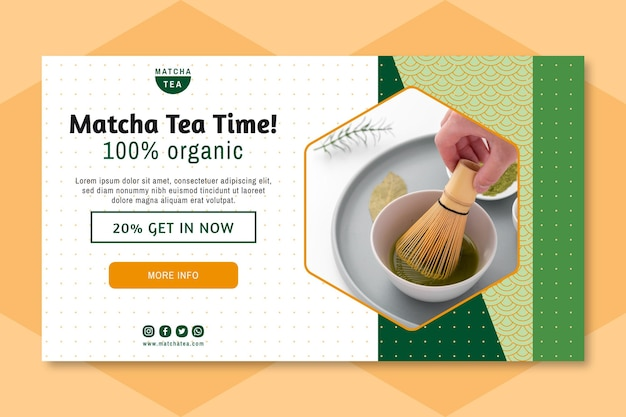 Banner de chá matcha