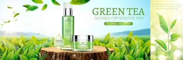 Banner de chá verde para cuidados com a pele com jardim de chá