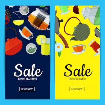 Banner de chaleiras e copos de chá dos desenhos animados