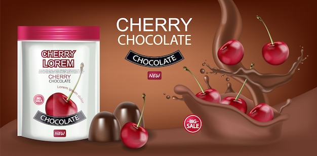 Banner de chocolate cereja