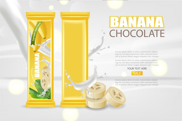 Banner de chocolate de banana