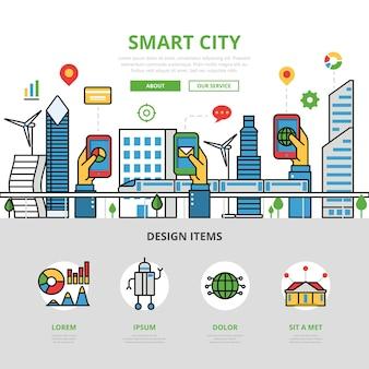Banner de cidade inteligente em estilo simples
