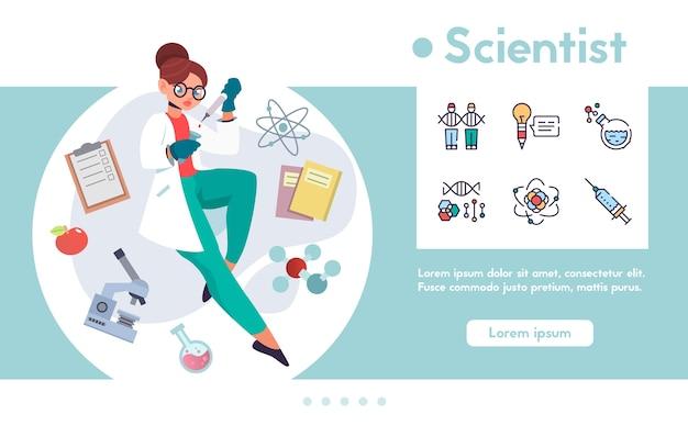 Banner de cientista mulher segurando tubo de ensaio, pipeta, fazendo pesquisas científicas. conjunto de ícones lineares de cores - equipamento de laboratório, fórmula de dna, moléculas, ciência, conhecimento científico, descoberta