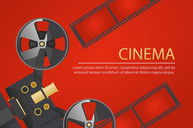 Banner de cinema com câmera vintage old school e bobina de filme sobre fundo vermelho