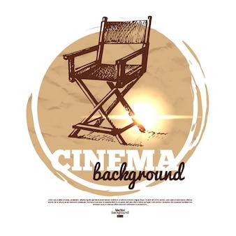 Banner de cinema com ilustração de esboço desenhado à mão