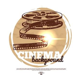 Banner de cinema de filme vintage com ilustração de esboço desenhado à mão