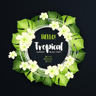 Banner de círculo de festa de praia tropical