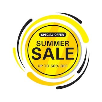 Banner de círculo de venda de verão