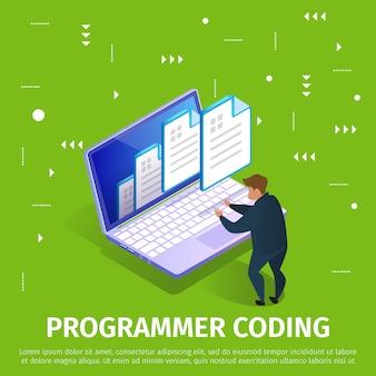 Banner de codificação de programador com padrão abstrato.