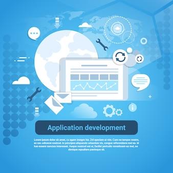 Banner de codificação de web de desenvolvimento de aplicativos com espaço de cópia
