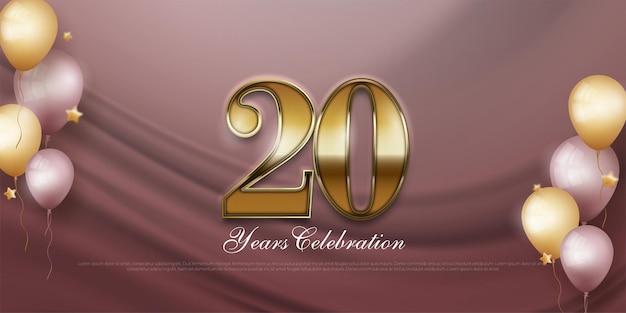 Banner de comemoração do 20º aniversário com balões realistas