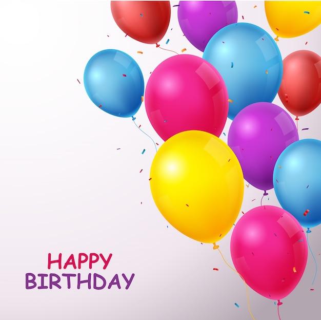 Banner de comemorações de aniversário com balões coloridos e confetes