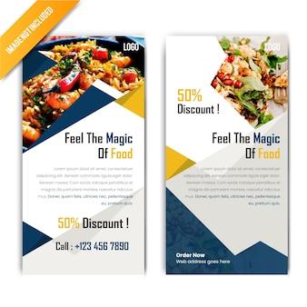 Banner de comida de desconto horizontal para restaurante