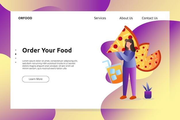 Banner de comida de pizza italiana e ilustração de página de aterragem