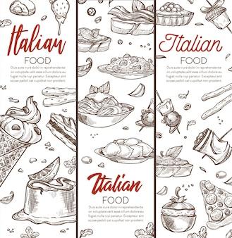 Banner de comida italiana com dihes mão esboços desenhados e texto