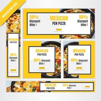 Banner de comida mexicana web definido para restaurante