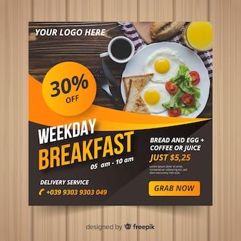 Banner de comida quadrada com foto