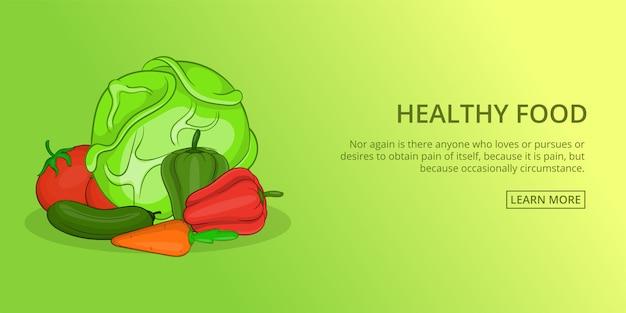 Banner de comida saudável horizontal, estilo cartoon