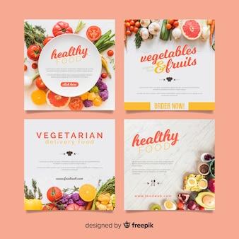 Banner de comida saudável quadrado fotográfico