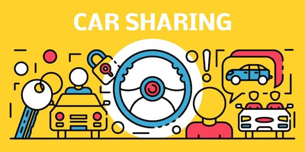Banner de compartilhamento de carro, estilo de estrutura de tópicos