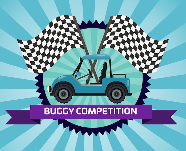 Banner de competição de buggy com bandeira quadriculada