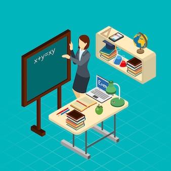 Banner de composição isométrica de professor na escola
