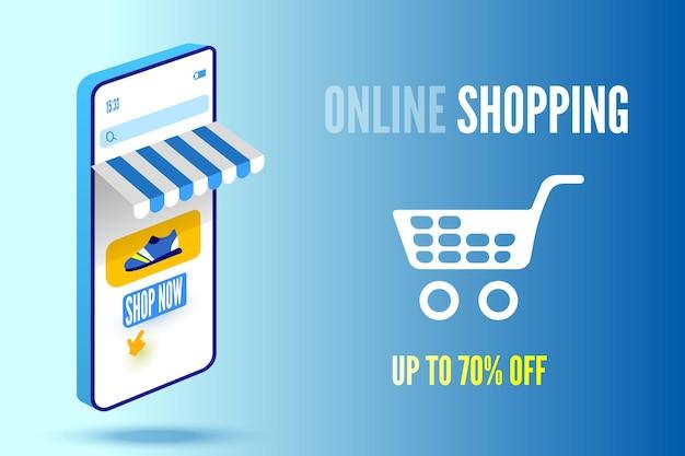 Banner de compra online com smarthpone e carrinho em fundo azul.