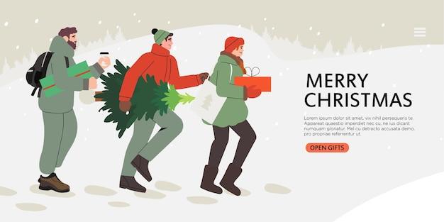 Banner de compras de natal ou ano novo.