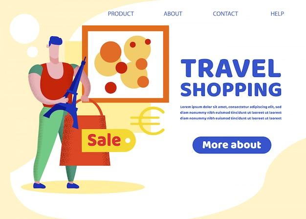 Banner de compras de viagem, viciado em compras, excursão a paris