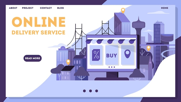 Banner de compras e entrega online. atendimento ao cliente e entrega, rastreamento e compra. banner da web de comércio eletrônico. compras online e marketing móvel. ilustração