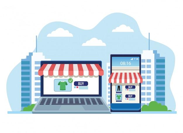 Banner de compras on-line com ilustração de laptop e smartphone