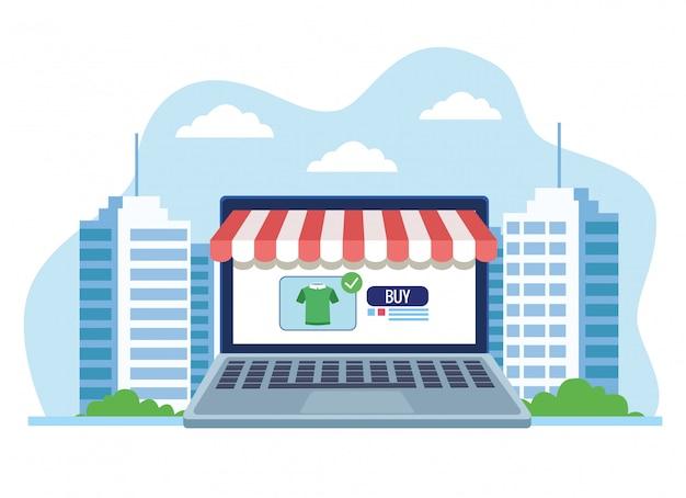 Banner de compras on-line com laptop comprando ilustração de camisa