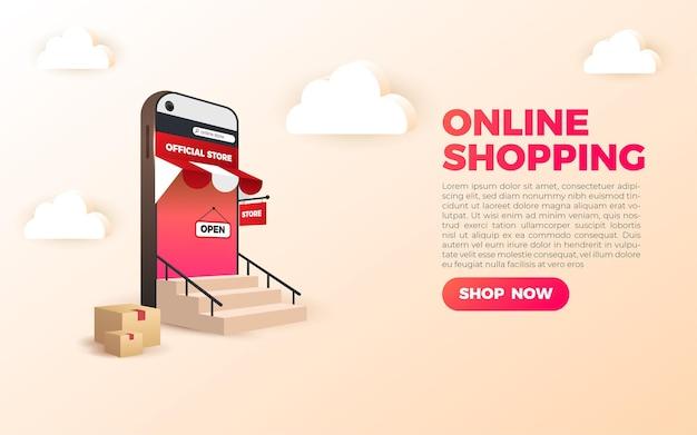 Banner de compras online 3d
