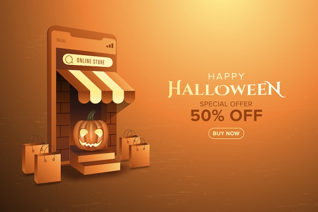 Banner de compras online halloween especial na promoção de aplicativos para dispositivos móveis ou web