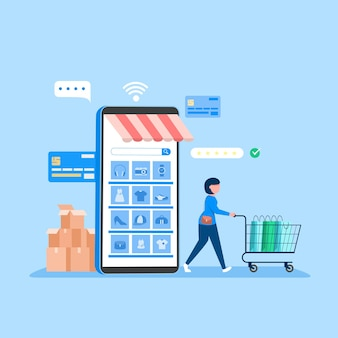 Banner de compras online, modelos de aplicativos móveis, design plano de conceito