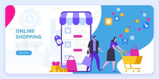 Banner de compras online. vendas de comércio eletrônico, marketing digital.
