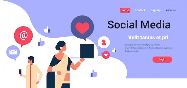 Banner de comunicação de mídia social de homem casal homem mulher