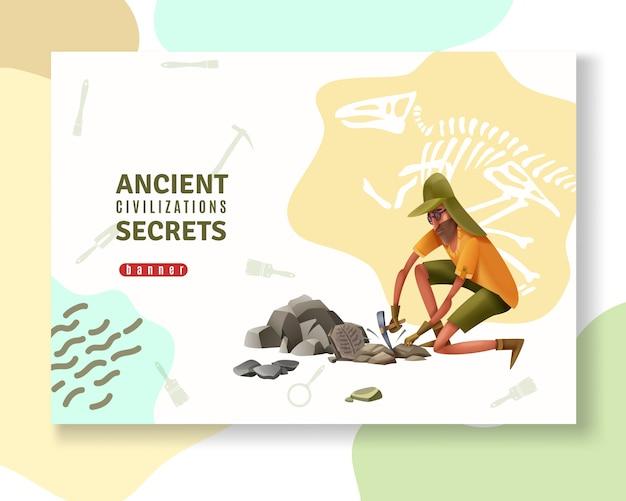 Banner de conceito arqueologia com silhuetas de pictograma ornamentos abstratos de ferramentas de escavação e caráter humano do estilo doodle