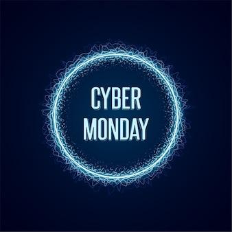 Banner de conceito da cyber monday em estilo neon luminoso