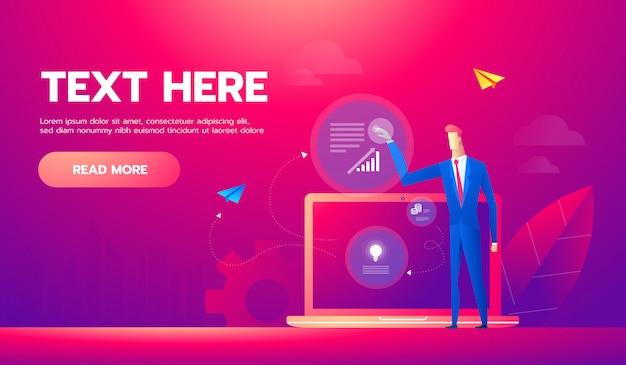 Banner de conceito de análise de negócios com personagens