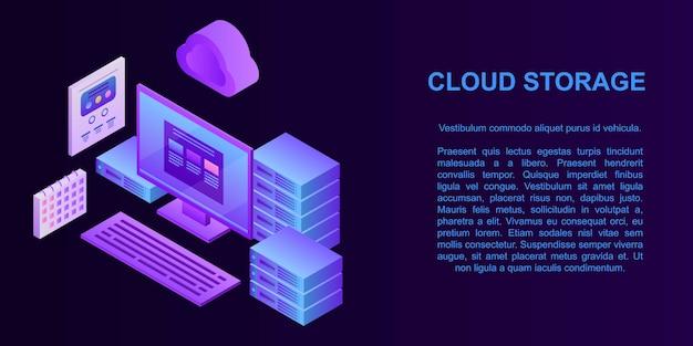 Banner de conceito de armazenamento em nuvem, estilo isométrico