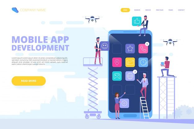Banner de conceito de desenvolvimento de aplicativo móvel