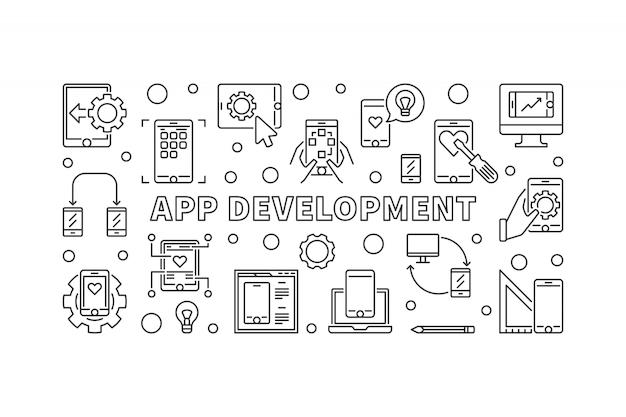 Banner de conceito de desenvolvimento de aplicativo no estilo de linha fina