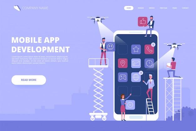Banner de conceito de desenvolvimento de aplicativos para dispositivos móveis