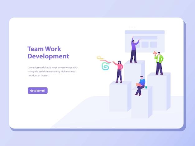 Banner de conceito de desenvolvimento de trabalho em equipe