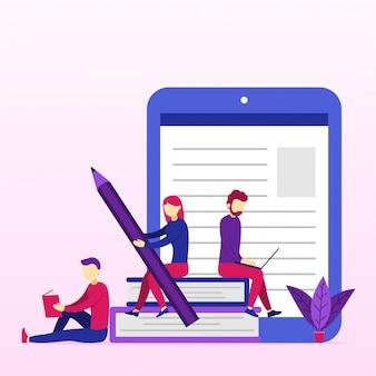 Banner de conceito de educação on-line com personagens