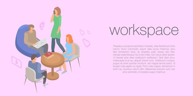 Banner de conceito de espaço de trabalho, estilo isométrico